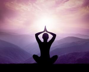 Meditation silhouette.